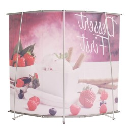 3 PIECE L BANNER CURVED WALL | PRINT AND STAND PACKAGE