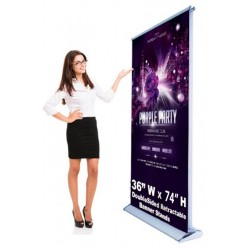 Double Sided 36 x 74 Retractable - Roll up Banner Stand